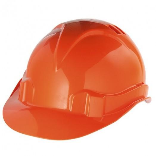 Каска защитная из ударопрочной пластмассы, оранжевая