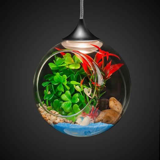 Фитосветильник подвесной FT-25, св/диод, стекл.шар d120мм,  1Вт, с искус.раст.